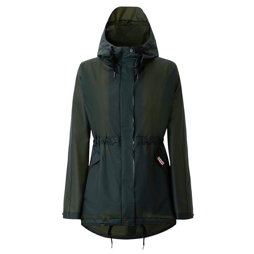 a dark green semi-sheer rain coat