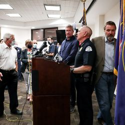 Ogden Police Chief Randy Watt prepares to give a statement at the Francom Public Safety Center in Ogden about the loss of an officer on Thursday, May 28, 2020. Police said one officer and a suspect were killed, while another officer was injured, in an exchange of gunfire earlier in the day.