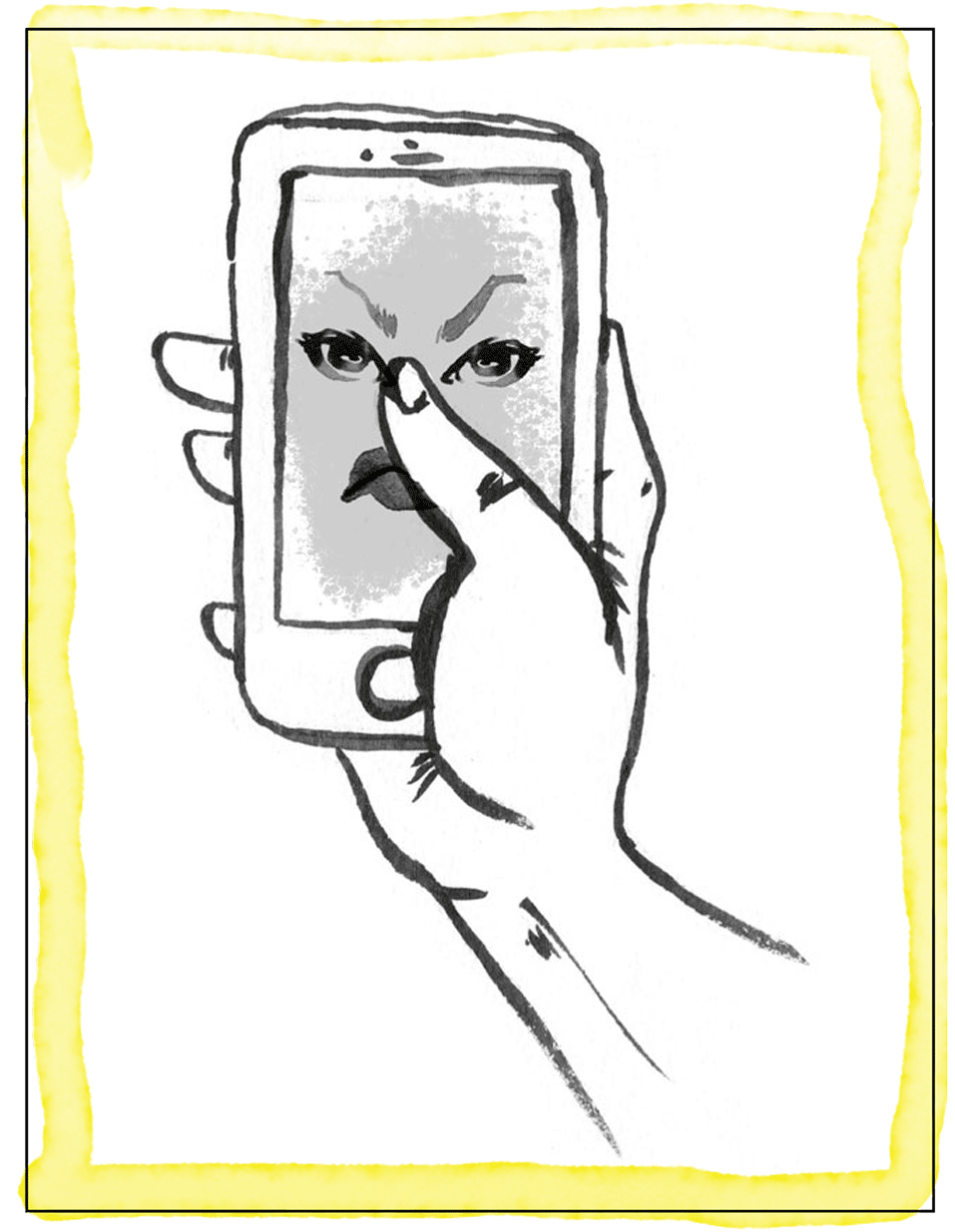 An illustration of a hand filming an incident of harassment with a smartphone.