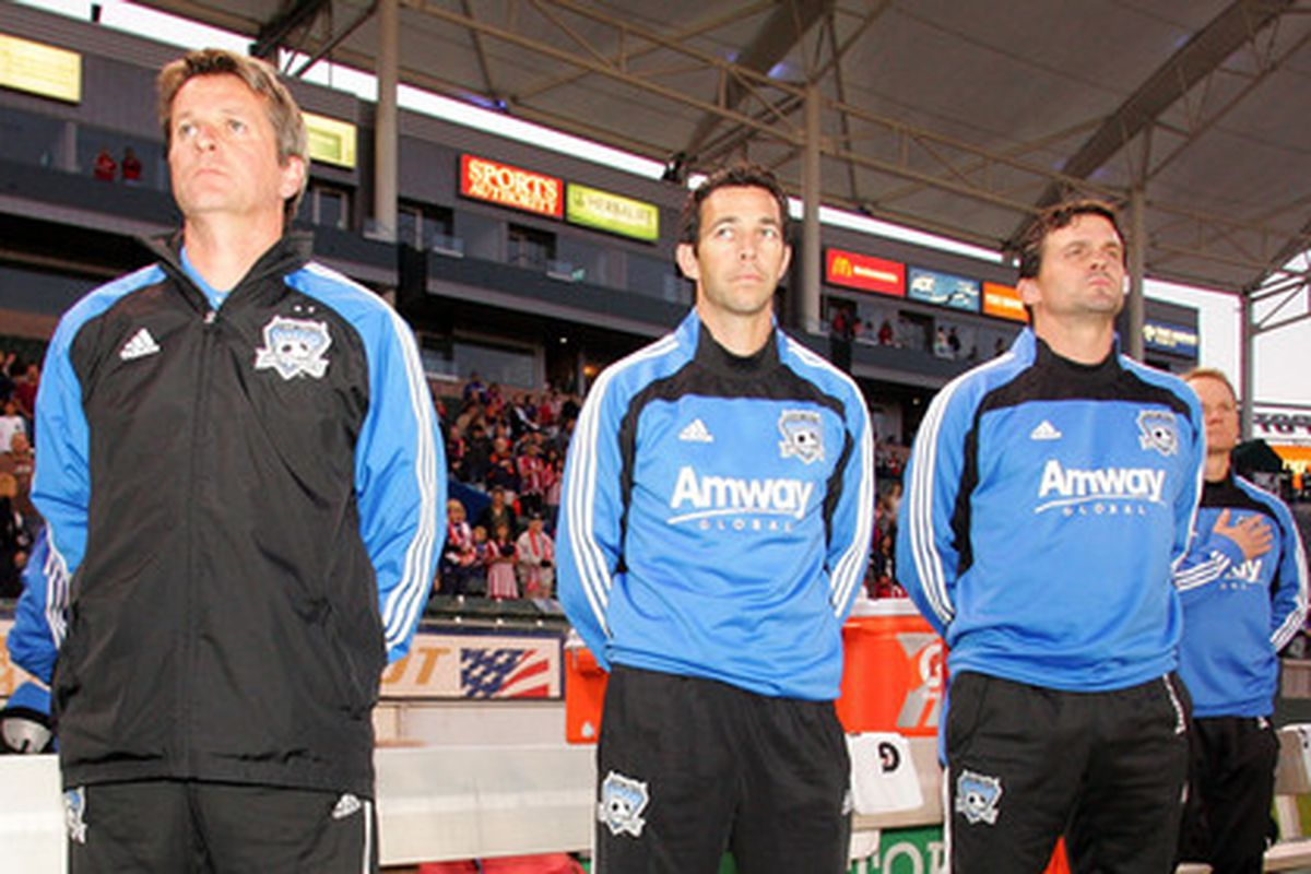 Mark Watson (far right) takes over for departing head coach Frank Yallop