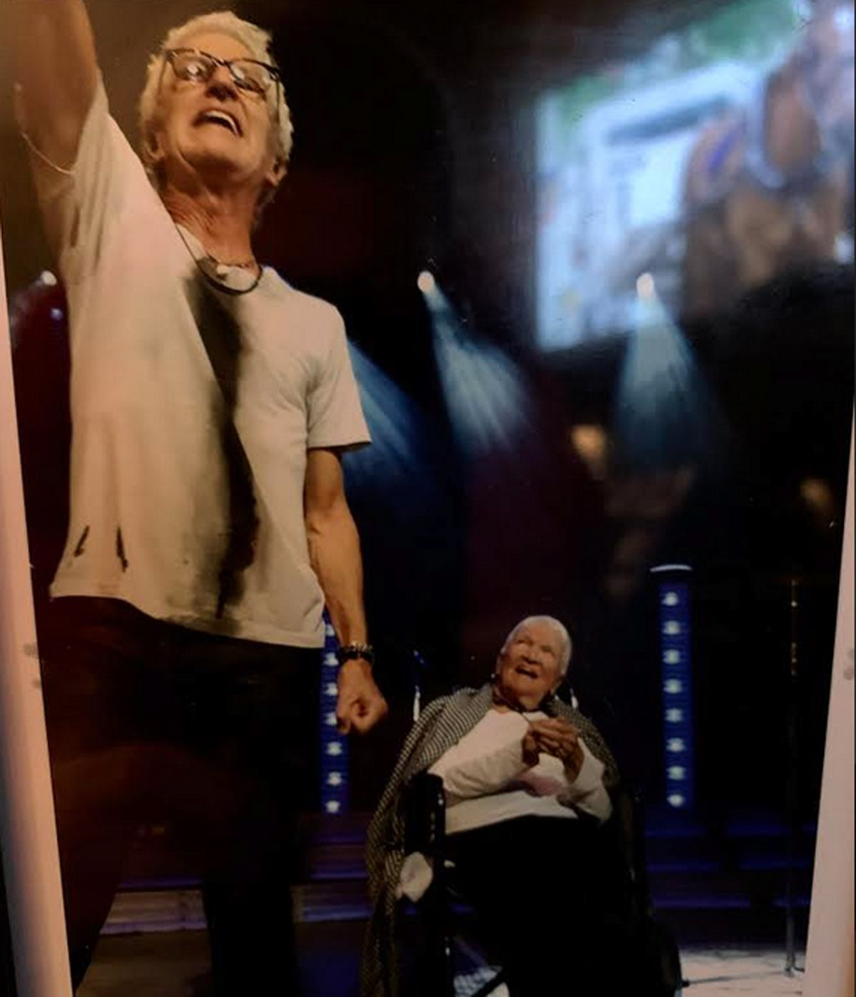 Mille Cronin looks on after her son Kevin Cronin brought her onstage during a 2016 REO Speedwagon show at the Star Plaza Theatre in Merrillville.