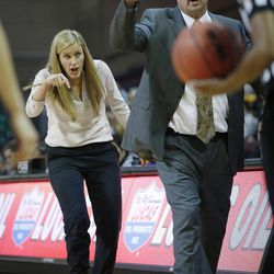 Brigham Young Cougars coaches Jeff Judkins and Melinda Bendall complain about a call during the WCC tournament championship in Las Vegas Tuesday, March 8, 2016. San Francisco won 70-68.
