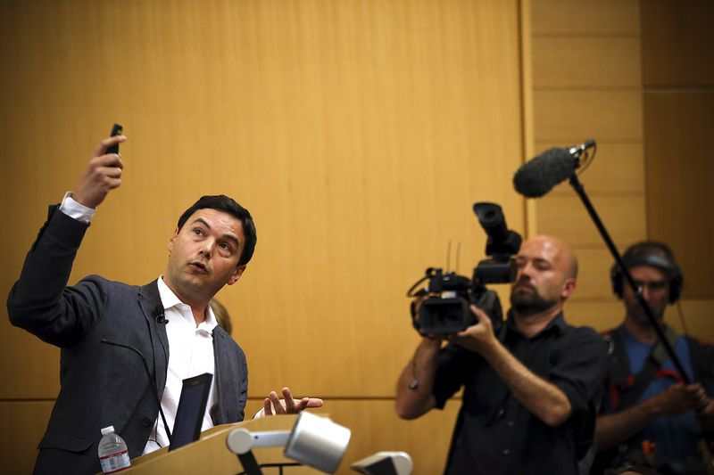 Thomas Piketty speaks to the Department of Economics at the University of California, Berkeley on April 23, 2014.