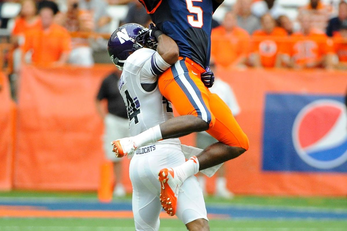 Sep 1, 2012; Syracuse, NY, USA; Most of these weren't this difficult for Syracuse receivers. Mandatory Credit: Rich Barnes-US PRESSWIRE