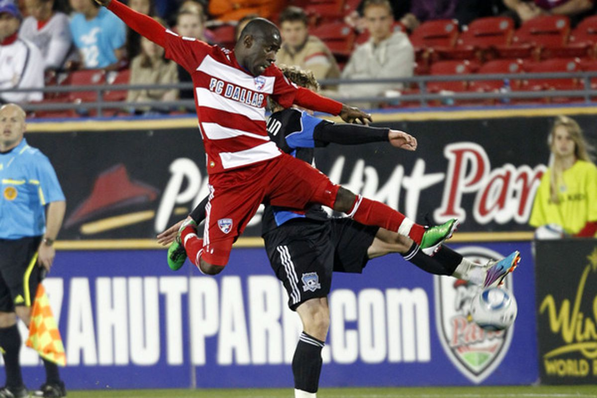 FRISCO, TX - MARCH 26: Jair Benitez #5 of FC Dallas leaps for the ball against Bobby Burling #2 of the San Jose Earthquakes at Pizza Hut Park on March 26, 2011 in Frisco, Texas. (Photo by Layne Murdoch/Getty Images)