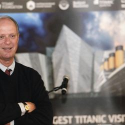 Professor Robert Ballard, professor of oceanography at the University of Rhode Island,  talks to members of the media during a press conference in Titanic Belfast Building, Northern Ireland, Saturday, April 14, 2012.  Ballard and his team discovered the wreck of the Titanic in 1985. (AP Photo/Peter Morrison)
