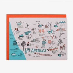 """As we Angelenos know, there's much more to the City of Angels than celebrity homes and the Hollywood sign. This cute Anti-Boredom Card illustrated by artist Kathryn McFarlane at DTLA's Poketo (<a href=""""http://poketo.com/shop/stationery/LA-Anti-Boredom-Map"""