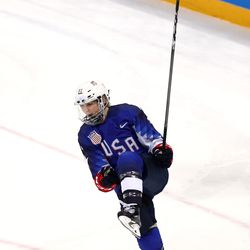 Jocelyne Lamoureux #17 of the United States celebrates after she scores a goal.