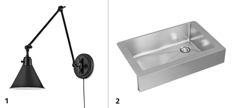 Summer 2021, Before and After Kitchen, sconce, sink