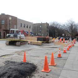 1:18 p.m. Utility work at Waveland and Clark. This is the view looking west on Waveland -