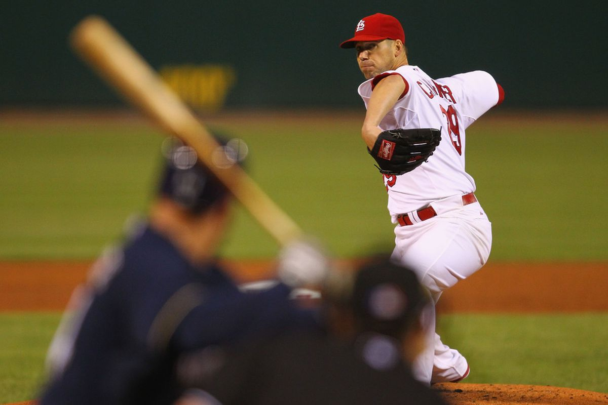 ST. LOUIS, MO -SEPTEMBER 7: Starter Chris Carpenter #29 of the St. Louis Cardinals pitches against the Milwaukee Brewers at Busch Stadium on September 7, 2011 in St. Louis, Missouri.  (Photo by Dilip Vishwanat/Getty Images)