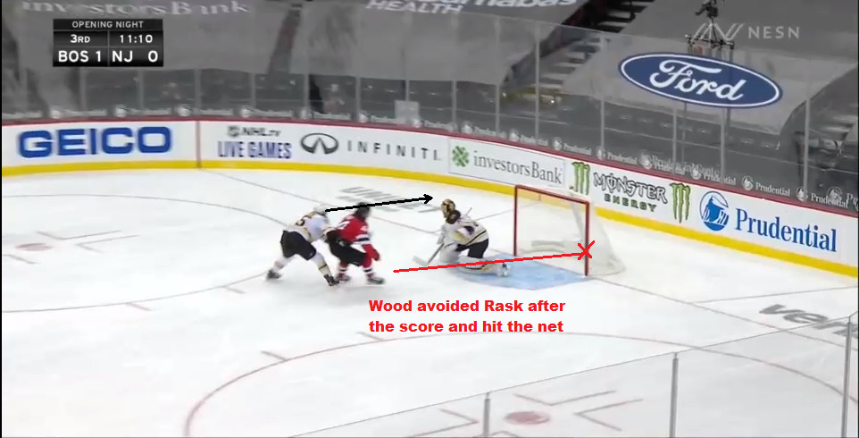 Part 13: The aftermath. Lauzon's grab leads to Wood dodging Rask after the goal and will end up hitting the post himself.