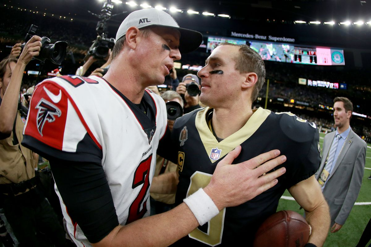 Matt Ryan of the Atlanta Falcons and Drew Brees of the New Orleans Saints shake hands at the end of a game at the Mercedes-Benz Superdome on November 22, 2018 in New Orleans, Louisiana.
