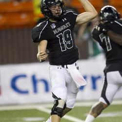 Hawaii quarterback Sean Schroeder makes a pass during the second quarter of the NCAA game between the Lamar and Hawaii, Sept. 15, 2012 in Honolulu.