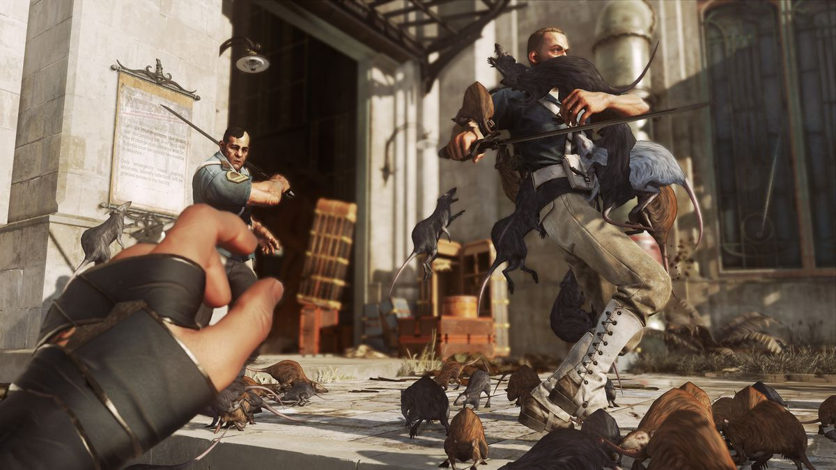 a bunch of rats attack two guards in Dishonored 2