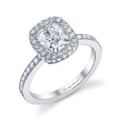 Cushion cut diamond center stone set with approximately 96 brilliant cut diamonds