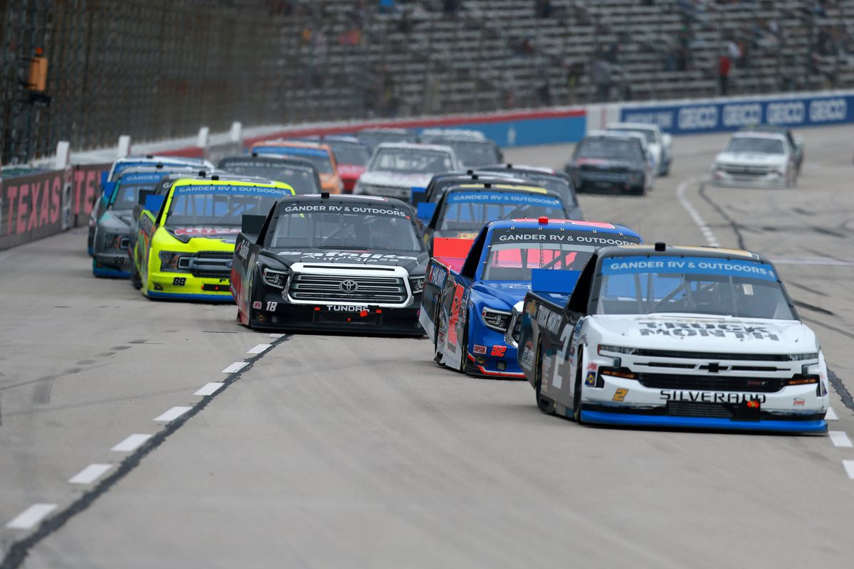 Sheldon Creed, driver of the #2 Chevy Truck Month Chevrolet, leads the field during the NASCAR Gander RV & Outdoors Truck Series SpeedyCash.com 400 at Texas Motor Speedway on October 25, 2020 in Fort Worth, Texas.