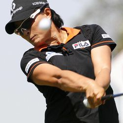 Si Ri Pak, of South Korea, hits from the second tee during the third round of the LPGA Kraft Nabisco Championship golf tournament, Saturday, March 31, 2012, in Rancho Mirage, Calif.