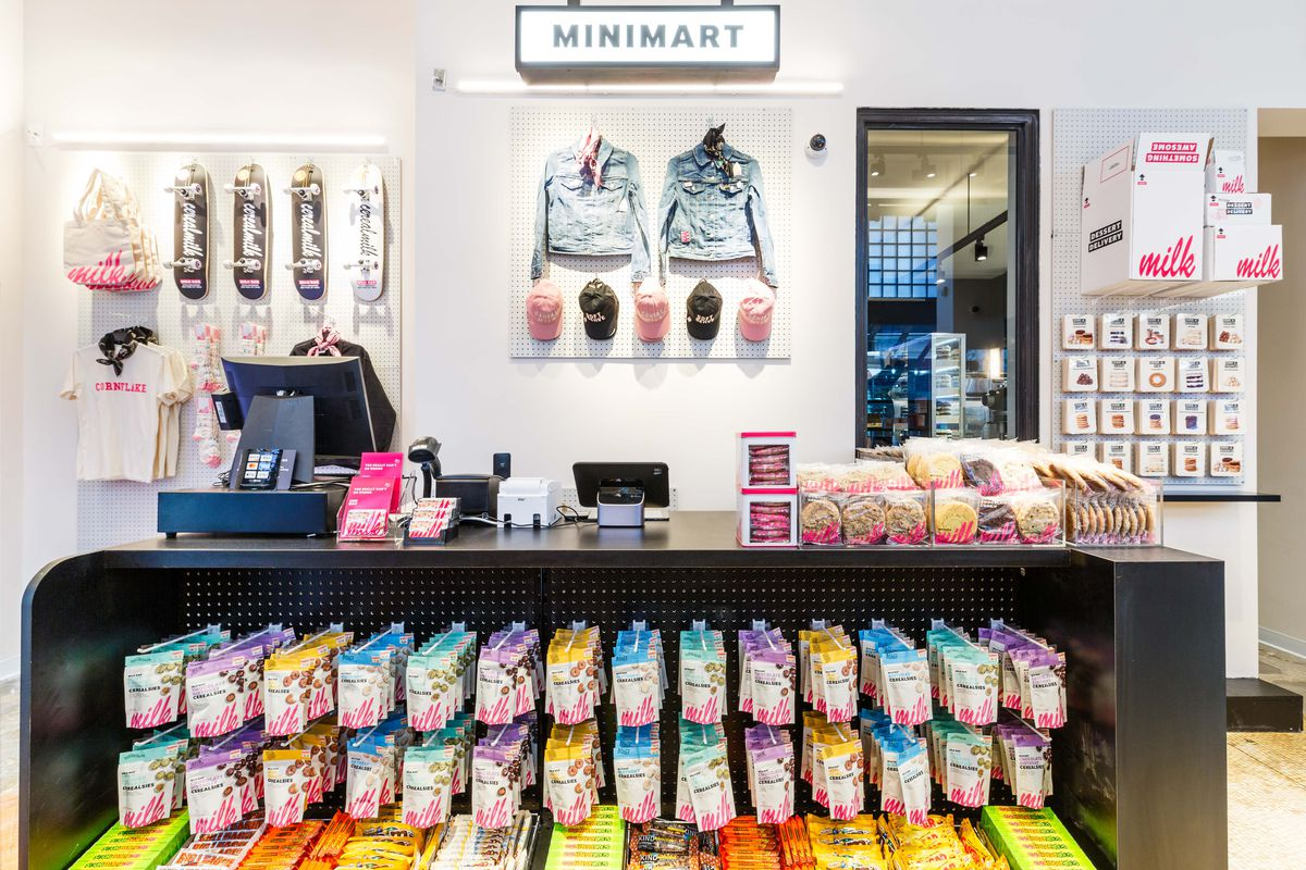 Cerealsies hang below the counter at Milk Bar's the mini mart