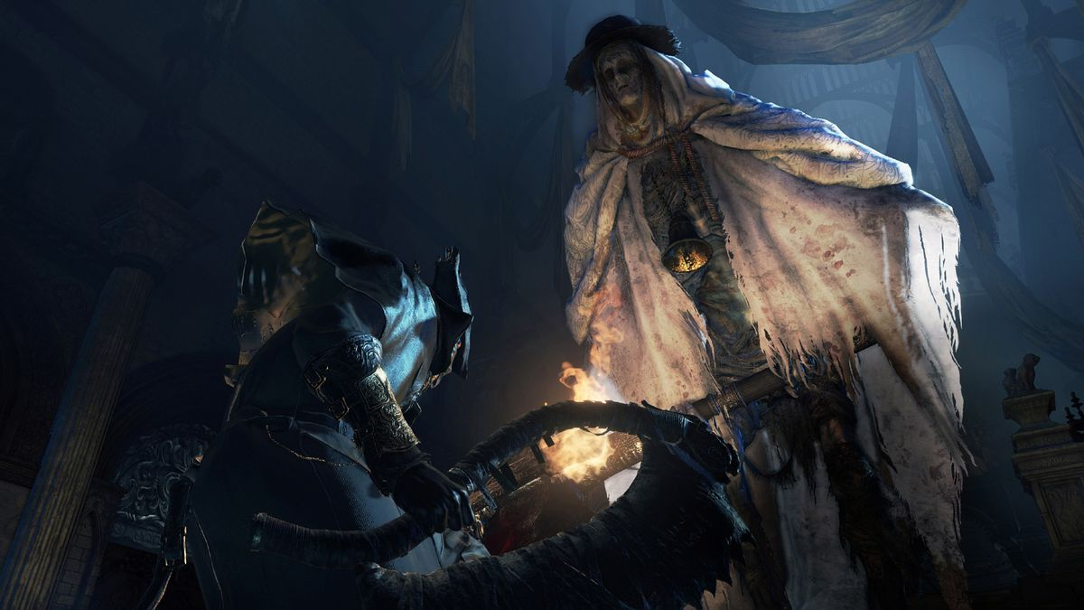 confronting a very tall enemy in Bloodborne