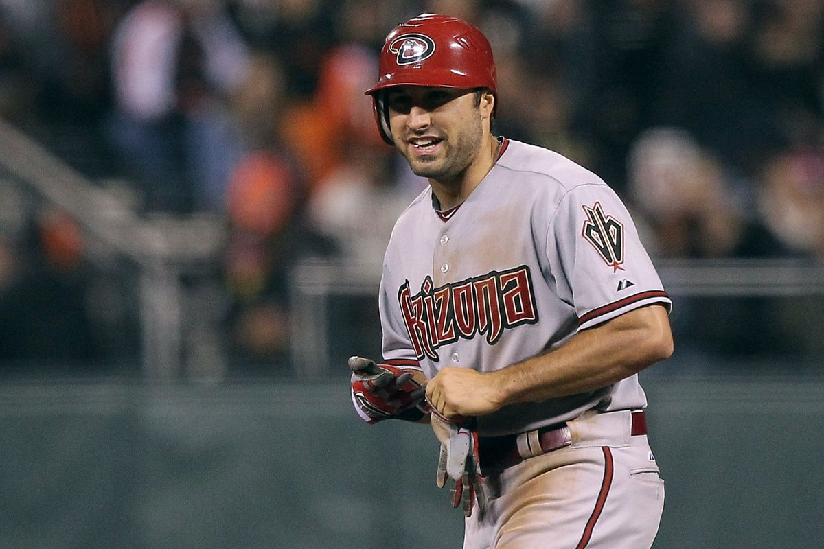 Adam Eaton smiles after getting his first major-league hit.