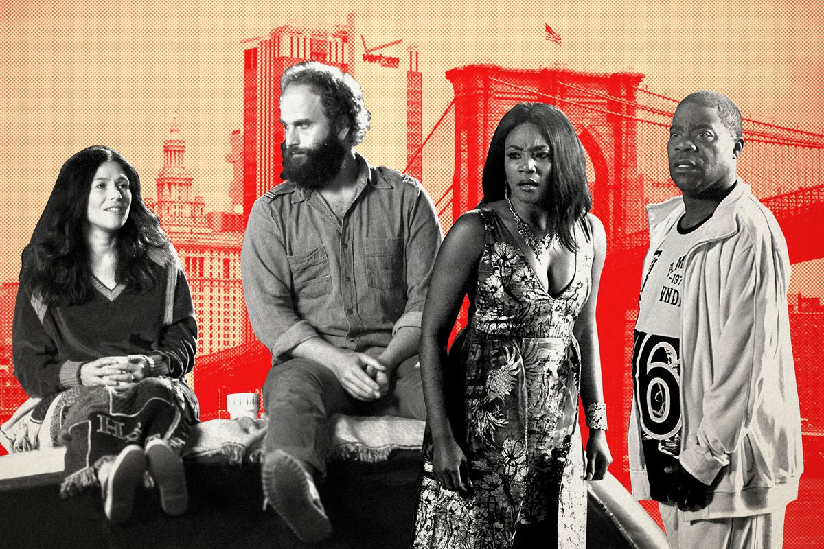 Cast members from 'High Maintenance' and 'The Last O.G.' in front of the Brooklyn Bridge