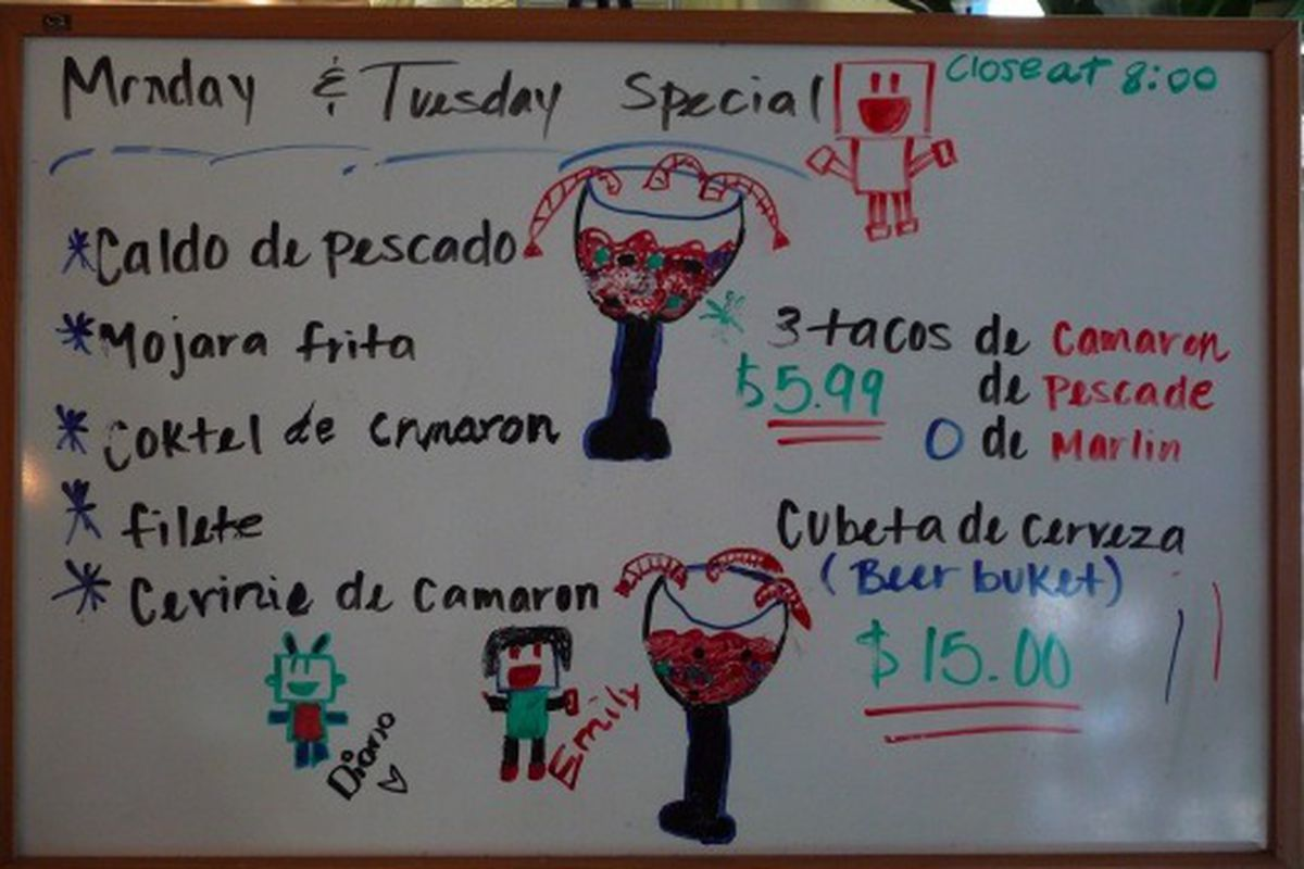 Yesterday and today's specials at Mariscos Chente, Culver City.