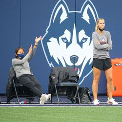 UConn head coach Margaret Rodriguez during the UMass Minutewomen vs the UConn Huskies at Morrone Stadium at Rizza Performance Center in an exhibition women's college soccer game in Storrs, CT, Monday, August 9, 2021.