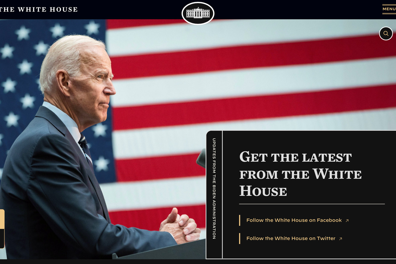 Screenshot of the White House website, showing the dark, high contrast mode activated.