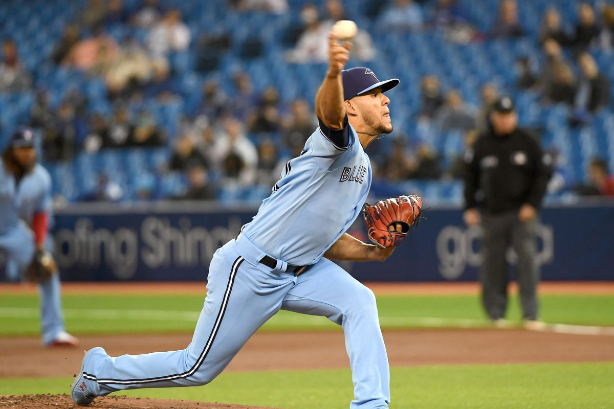Toronto Blue Jays starting pitcher Jose Berrios (17) throws a pitch against New York Yankees in the first inning at Rogers Centre
