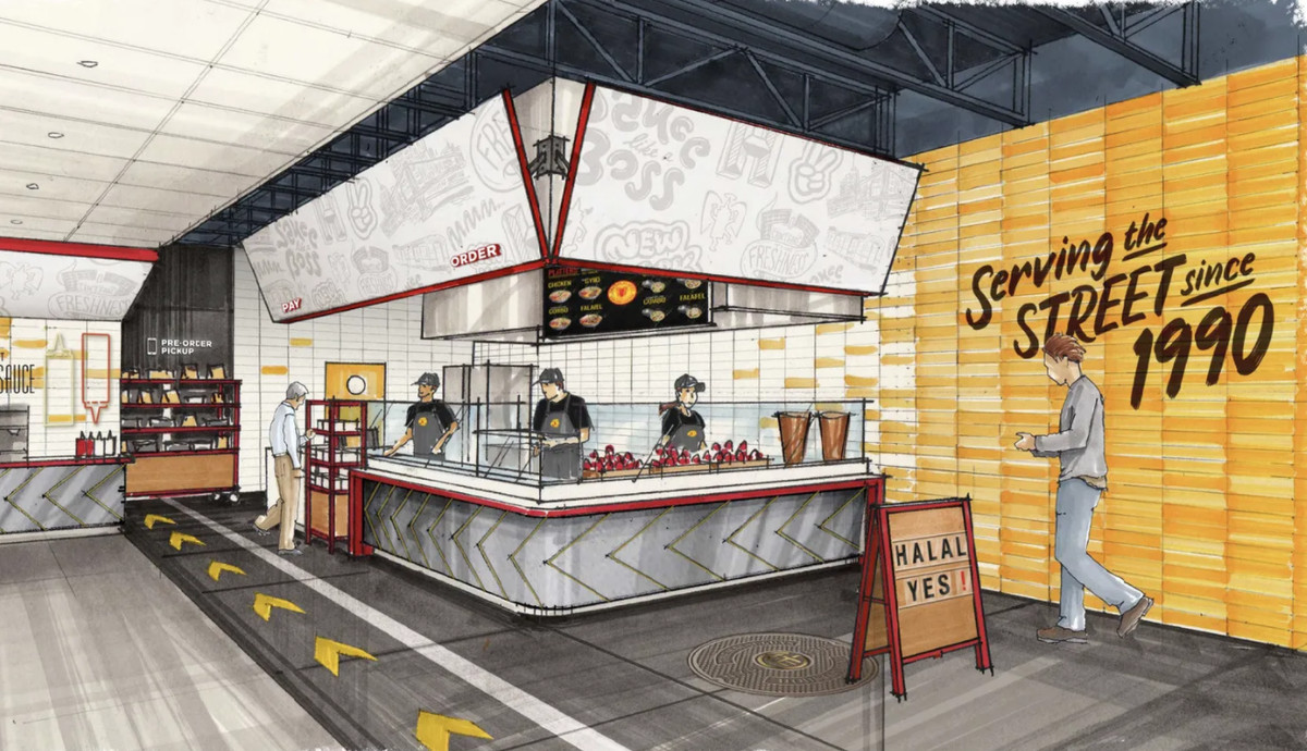 """An artist rendering of the coming dining room shows a fast-food counter with writing on the walls that says """"Serving the Street since 1990"""""""
