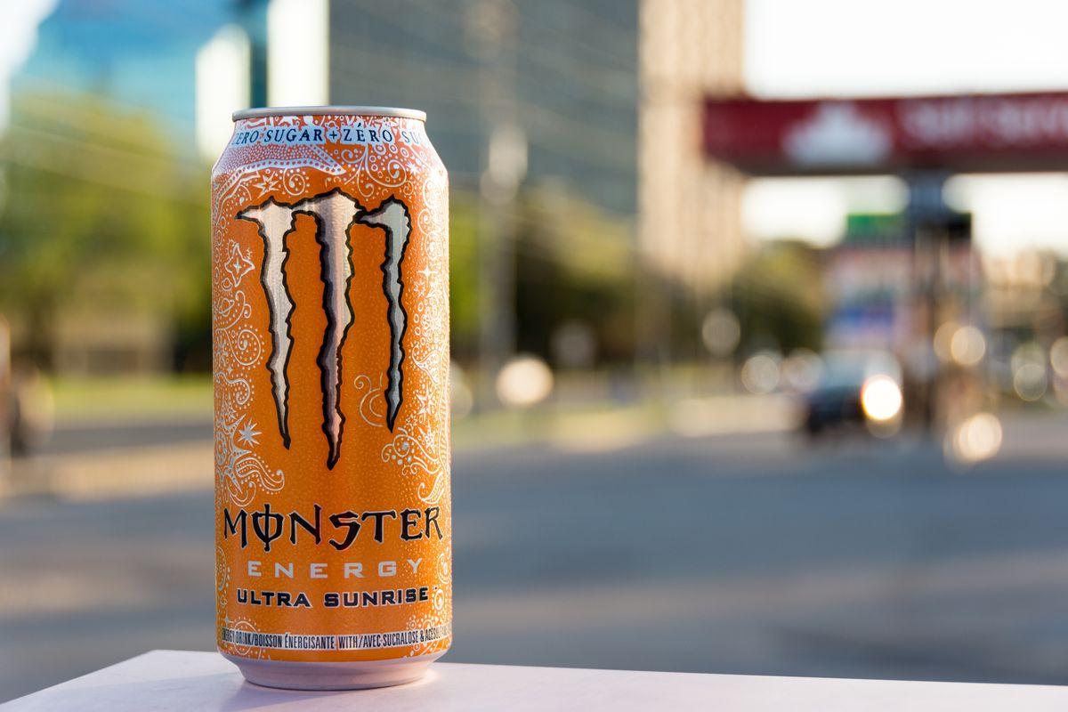 Orange can of Monster Energy Ultra Sunrise zero sugar drink...