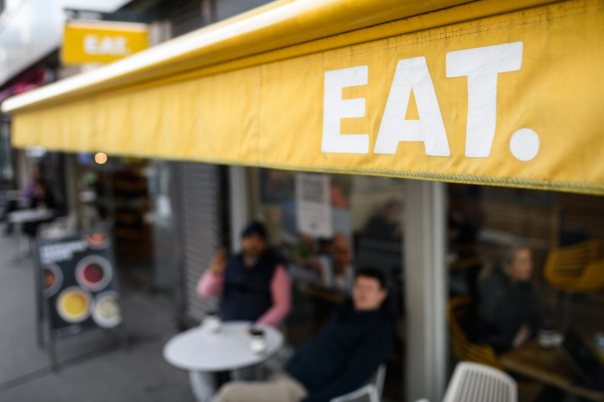 The yellow EAT signage in London, soon to be sold by Pret a Manger