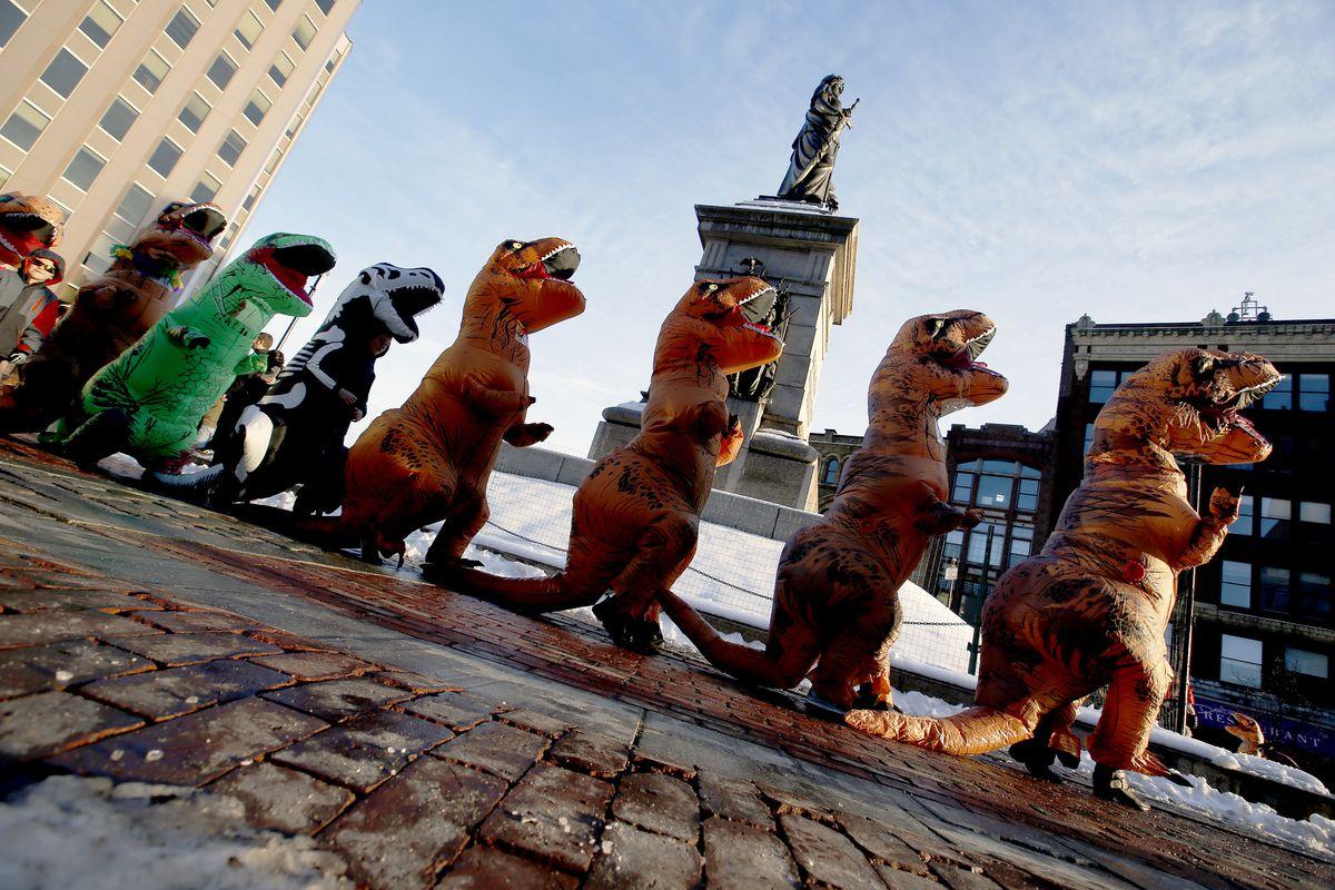 T. rex takover in Monument Square