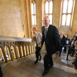 Elder D. Todd Christofferson, of the Quorum of the Twelve Apostles of The Church of Jesus Christ of Latter-day Saints, takes a tour with his wife, Sister Katherine Christofferson, at Christ Church, Oxford University prior to speaking in Oxford, England, on Thursday, June 15, 2017. The two walk the stairs made famous in the Harry Potter films.