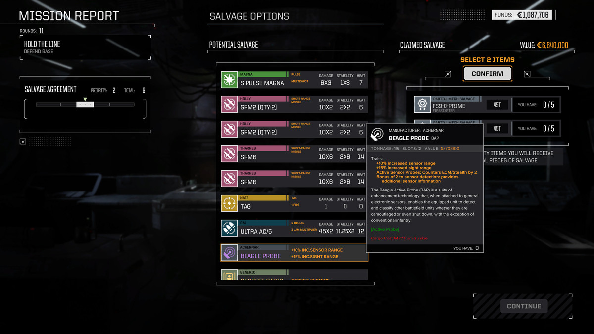 a salvage list including a pulse laser and a Beagle Active Probe in RogueTech
