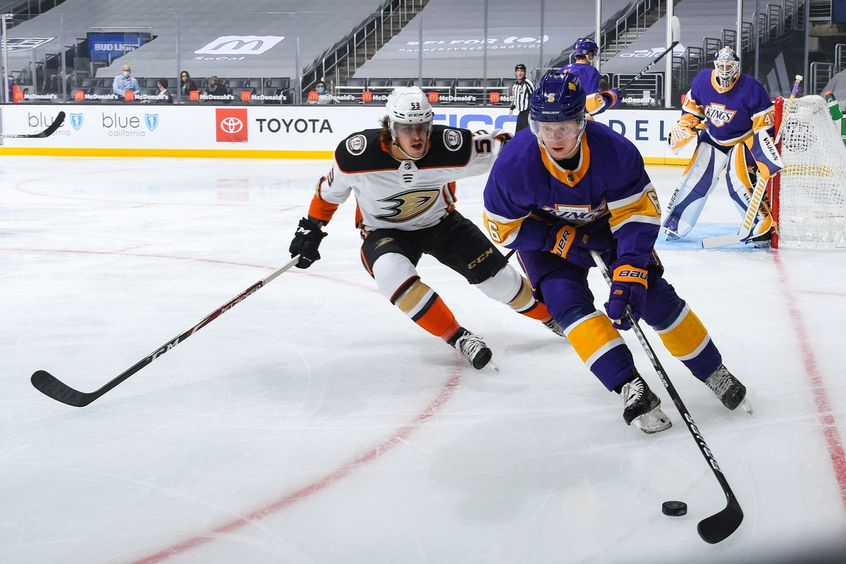 Max Comtois #53 of the Anaheim Ducks and and Olli Maatta #6 of the Los Angeles Kings battle for position during the first period at STAPLES Center on February 2, 2021 in Los Angeles, California.