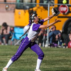 Lehi Pioneers' Myia Ockey (12) catches the ball during a high school softball game at Timpanogos High School on Thursday, April 1, 2021.