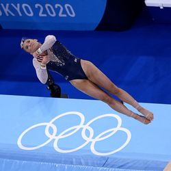 Mykayla Skinner, of the United States, competes in the women's artistic gymnastics vault final at the 2020 Summer Olympics, Sunday, Aug. 1, 2021, in Tokyo, Japan.