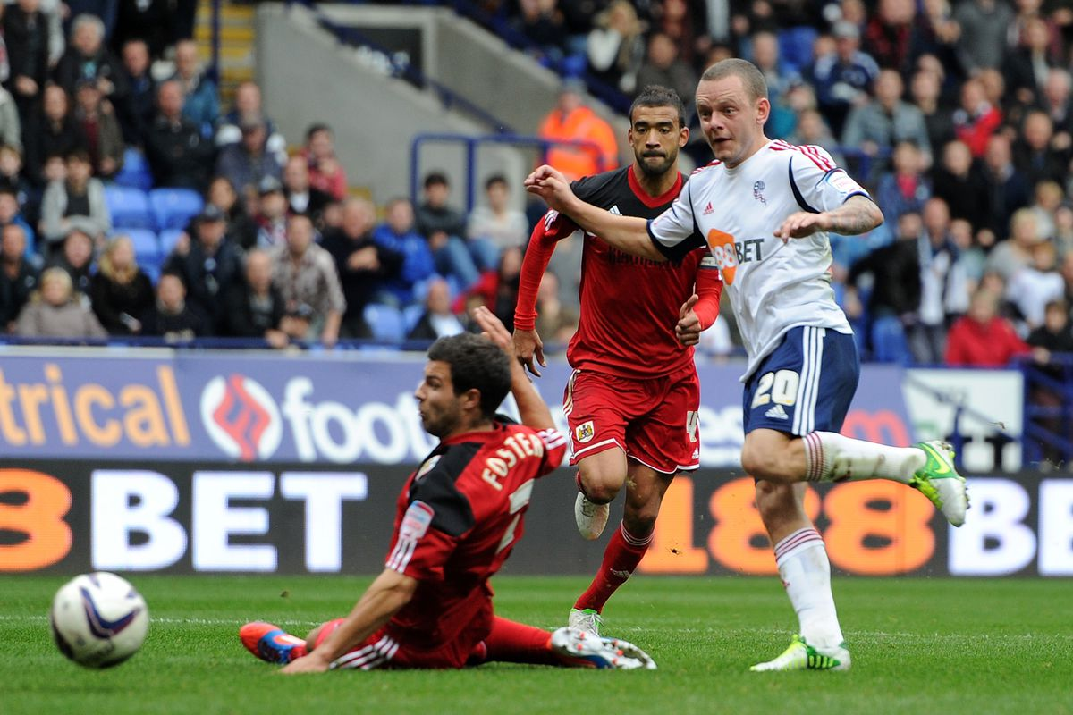 Jay Spearing in action when Bristol City last visited Bolton in 2012