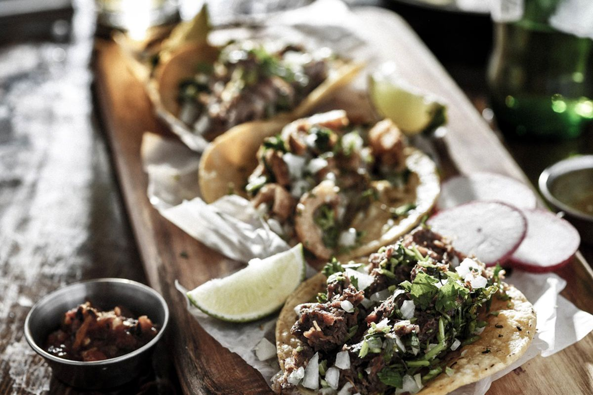 A plate of tacos on the menu at Más Por Favor, a combination taqueria and tequila lounge opening soon.