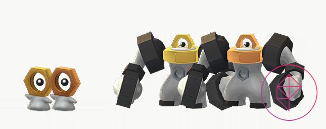 Meltan and Melmetal with their Shiny forms. Shiny Meltan and Melmetal both have darker gold nuts.