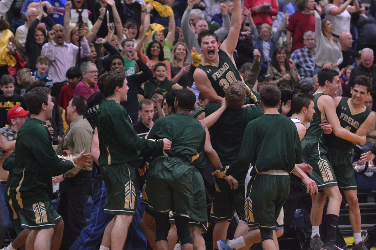 Fremd's team reacts after winning the Mid Suburban league conference against Prospect.
