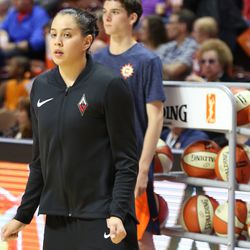 The Las Vegas Aces take on the Connecticut Sun in a WNBA game at Mohegan Sun Arena on May 20, 2018.