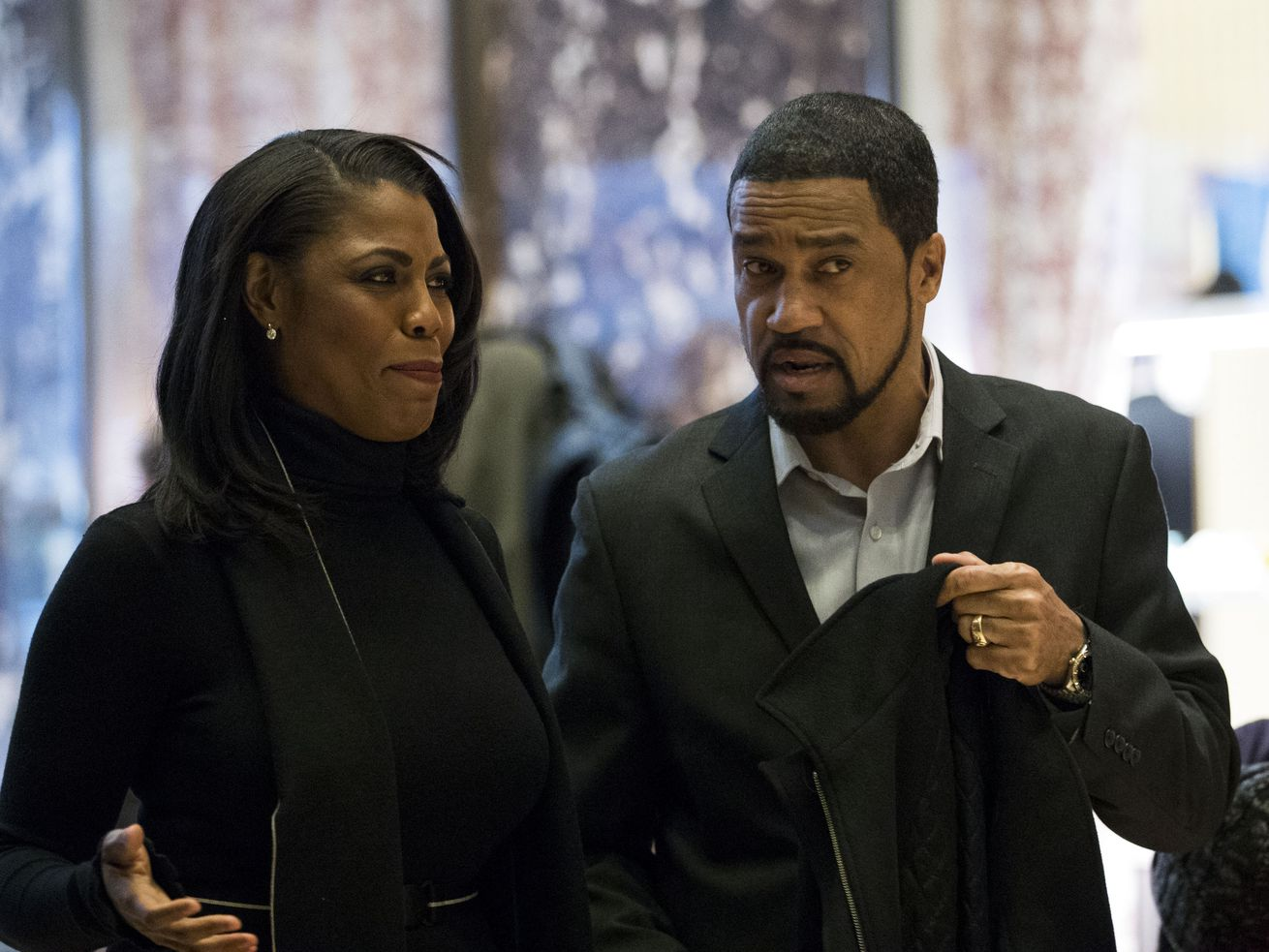 Omarosa Manigault-Newman and Pastor Darrell Scott arriving at Trump Tower in New York City in December 2016.