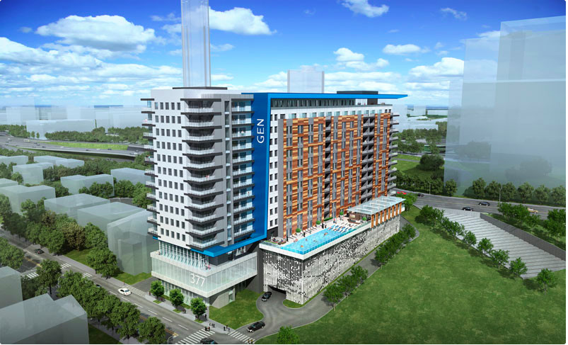 A new apartment project planned for downtown Atlanta near Centennial Olympic Park.