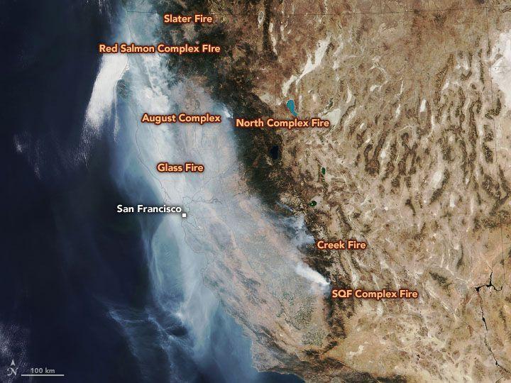 La & nbsp; suite de radiomètres d'imagerie infrarouge visible & nbsp; (VIIRS) sur le & nbsp; satellite NOAA-20 & nbsp; a capturé cette image aux couleurs naturelles de l'État le 1er octobre 2020. & nbsp;