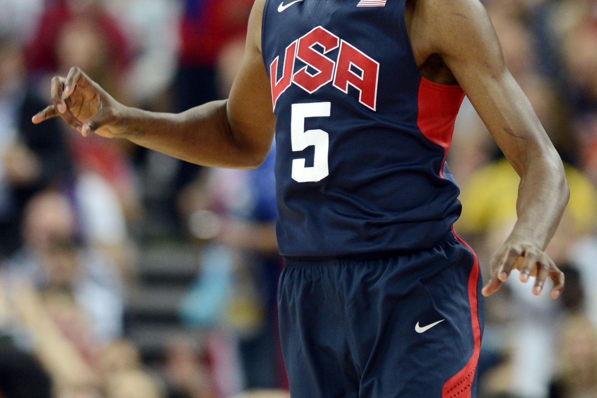 Aug 10, 2012; London, United Kingdom; USA guard Kevin Durant (5) reacts during the men's basketball semifinals against Argentina in the London 2012 Olympic Games at North Greenwich Arena. Mandatory Credit: Bob Donnan-USA TODAY Sports