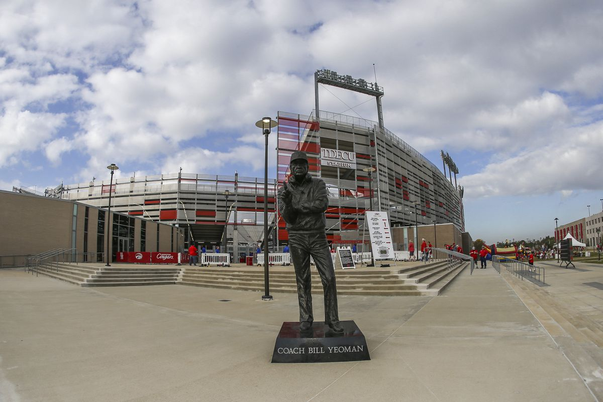 General view of a statue of former Houston Cougars coach Bill Yeoman outside of TDECU Stadium before a game between the Houston Cougars and the Central Florida Knights.