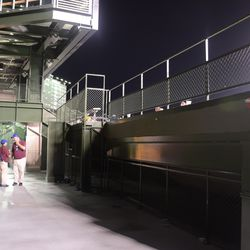10:12 p.m. The patio level behind the left-field bleachers -